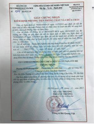 giấy chứng nhận chống cháy